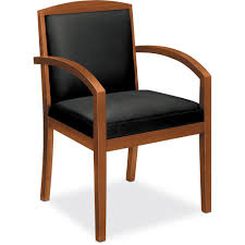 basyx by hon hvl853 wood guest chair leather seat softhread leather back wood frame bourbon cherry 22 seat width x 18 3 seat depth 23 width x