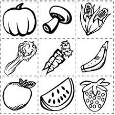 Small Picture Fruits and Vegetables Coloring and Drawing Worksheets