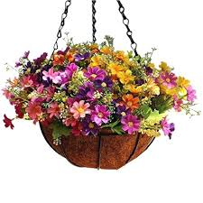 artificial flower hanging baskets to enlarge silk flowers hanging baskets outdoor