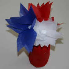 Flower Vase With Paper Fourth Of July Tissue Paper Flowers And Juice Jar Vase