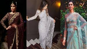 Latest Full Sleeves Blouse Designs Latest Designer Full Sleeves Blouse For Net Sari Full Length Blouse Designs For Party Wear Net Sari