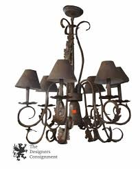 contemporary iron chandelier w french styling acanthus leaves medal shades
