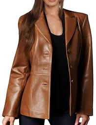 leather hubb women s new zealand lambskin brown leather blazer jacket solid aster at women s coats