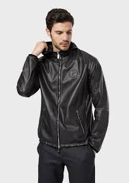 reversible blouson with hood in nappa leather and fabric