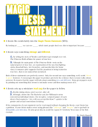 Free Magic Thesis Statement Templates At Allbusinesstemplates Com