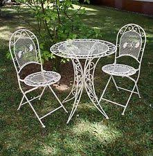 wrought iron garden furniture. vintage garden furniture set table u0026 2 chairs wrought iron cream white n
