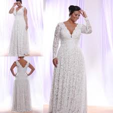 cheap plus size white dresses plus size white lace evening dress 2016 long sleeves deep v neck
