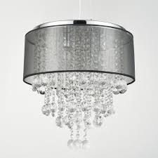 black drum chandelier with crystal also chrome holder finish for modern home interior lighting
