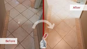 before and after picture of a tile shower grout sealing in westwood new jersey