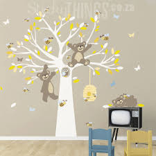 this bears and the bees tree wall art is a large tree with leaves 3 bears tree vinyl on wall art vinyl stickers south africa with tatty teddy like tree wall sticker stickythings za