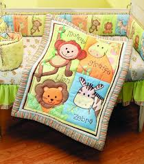 awesome decorating ideas using rectangular white wooden cribs include colorful animal themes comforter