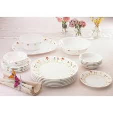 corelle dinner set deals india. buy corelle vitrelle glass 21 pc dinner set - spring shot deals india