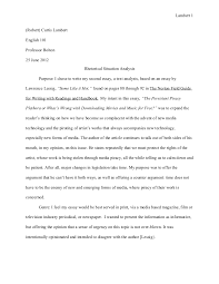 text analysis essay rhetorical situation and research