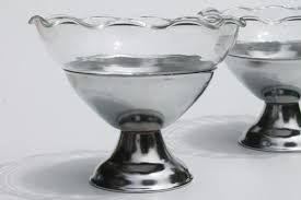 vintage ice cream parlor dessert dishes glass bowls w art deco chrome metal holders