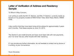 Residency Verification Letter Letter Of Recommendation