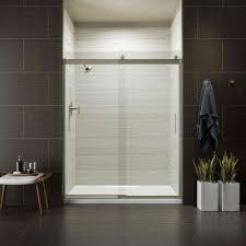semi frameless sliding shower door in nickel