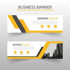 banner design template geometric banners template with yellow shapes vector free download