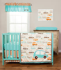 aqua blue and orange nursery bedding trend lab vroom lala crib set