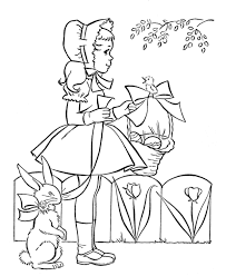 Small Picture Cute Little Girl With Easter Egg And Easter Bunny Coloring Pages