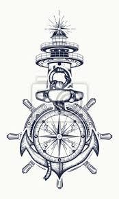 Fototapeta Kotva Volant Kompas Maják Tetování Symbol Námořní Dobrodružství