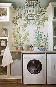 wallpaper, chicken wire fronts laundry/mud rooms - laundry room, whimsical laundry  room, Draza Stamenich whimsical bathroom design with yellow orange green ...