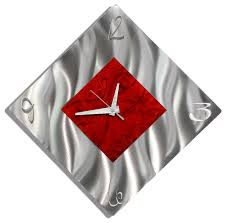 silver and red diamond metal wall clock functional art fresh start  on red metal art wall decor with silver and red diamond metal wall clock functional art fresh