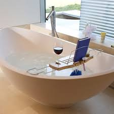 wooden bathtub reading tray caddy with wine and book holder plus stainless steel base ideas