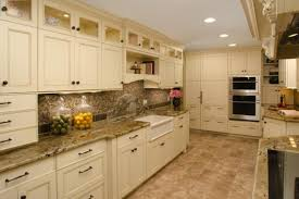 Light Beige Granite Countertop Seductive Galley Kitchen Off White Cabinets Design With