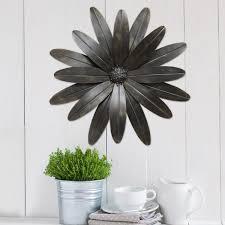 set of 3 metal daisy flowers wall art