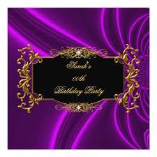 Black And Purple Invitations Any Age Elegant Birthday Party Black Gold Purple Invitation