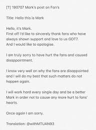 Marks Apology Letter Got7 Daily Amino