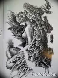 эскизы тату девушек ангелов 08032019 007 Tattoo Sketches