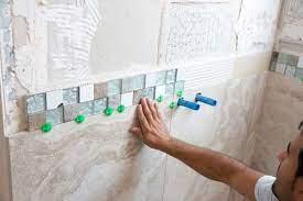 fiberglass shower to tile