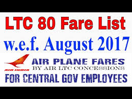 Air India Ltc 80 Fare With Effect From 01 August 2017 For