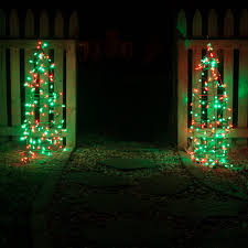 tomato cage tree using red and green led string lights