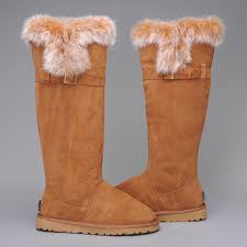 UGG Australia 1852 Women Fox Fur Tall Boots Chestnut