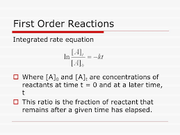 40 first order reactions integrated rate equation