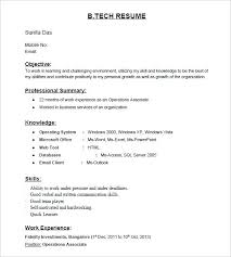 Normal Resume Format B Tech Fresher Resume Template Normal Resume