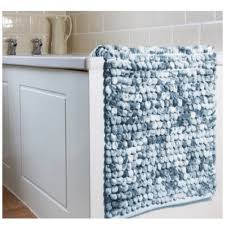 thick chunky super soft micro loop teal blue pebbles bathroom mat 50 x 80 cms