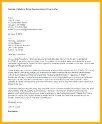 Resume Sample Sales Representative Rep Samples Medical Cover Letter