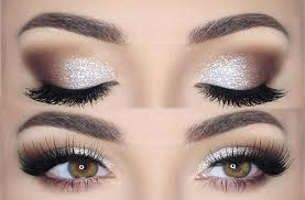 korean eye makeup silver glitter eye makeup