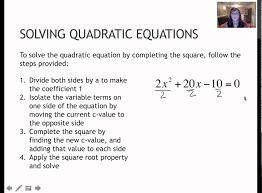 110 solving quadratics completing the square 7 1