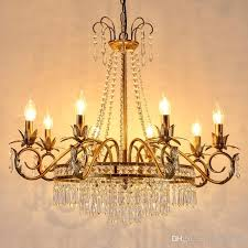 european style iron chandelier home crystal chandelier american living room restaurant candle lights french bedroom bar retro crystal lamps chandelier for