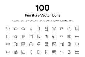 creative furniture icons set flat design. Creative Furniture Icons Set Flat Design F