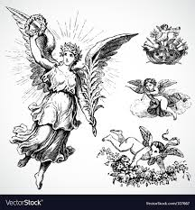 cupid and angel ornaments vector image