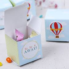 50pcs lot blue green stripe hot air balloon wedding candy box diy baby birthday candy