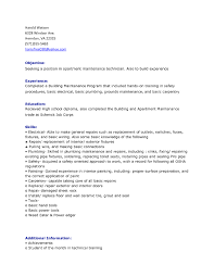 Maintenance Resume Samples Apartment Sample Job And Template