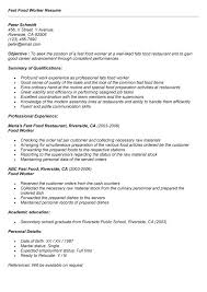 Fast Food Worker Resume Resume Examples For Fast Food Resume and Cover Letter Resume and 10