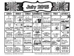 Calendars For June And July 2015 Third Grade Summer Learning Packet With June July 2015 Calendars