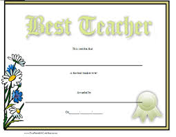 Best Teacher Certificate Templates Free World S Best Teacher Certificate